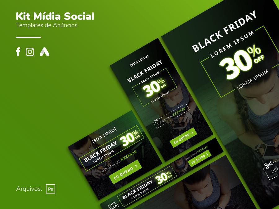 Criativo Black Friday - Display, Facebook, Instagram Template Grátis | eKyte