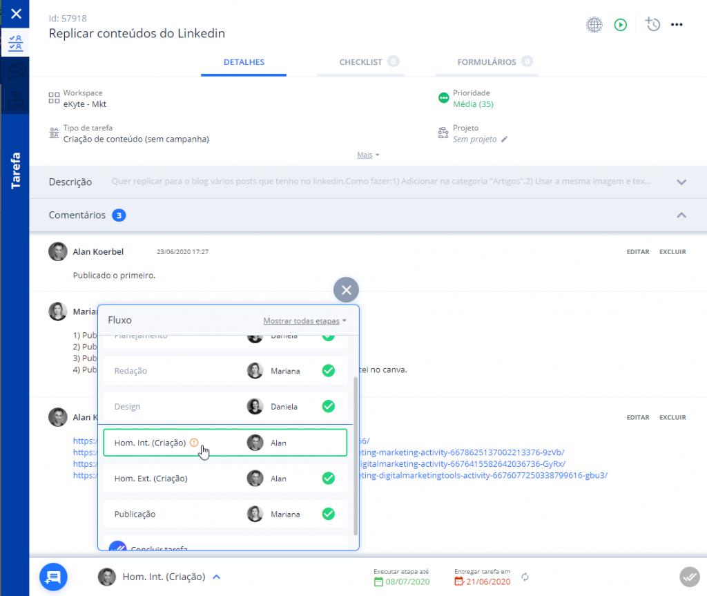 eKyte - Controle de Tarefas Marketing Digital Edição Fluxo
