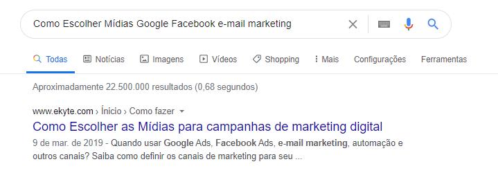 SEO exemplo description busca Google
