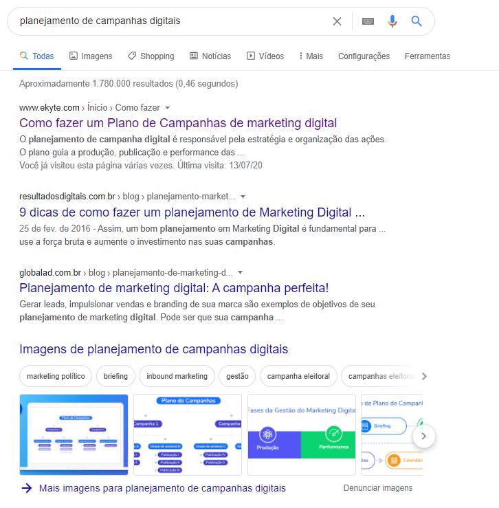 Exemplo SEO primeira página buscas