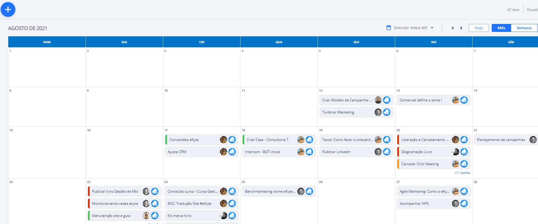 eKyte - tarefas - visão calendário